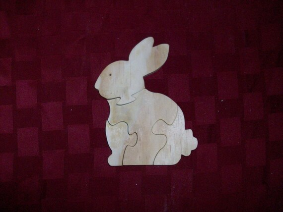 Wooden Rabbit shaped jigsaw puzzle
