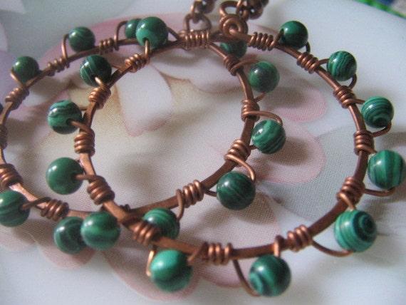Copper and Malachite hoop earrings - Juniper