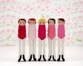 Wooden Clothespin Dolls Handpainted Ballerinas