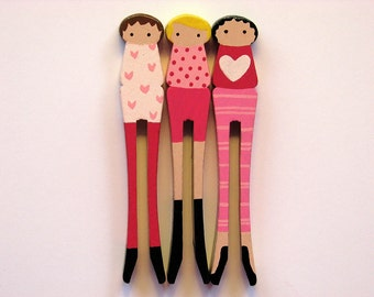 Clothespin Girls with Hearts