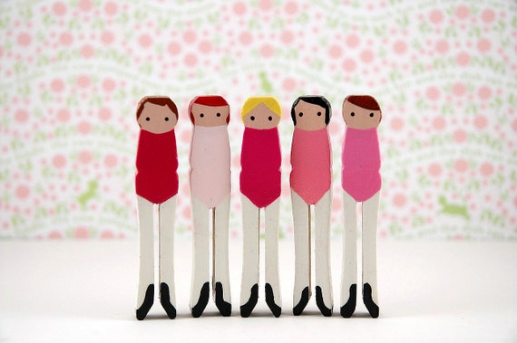 Wooden Clothespin Dolls Handpainted Ballerinas