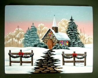 Church on Christmas Eve Hand Painted Wood 47