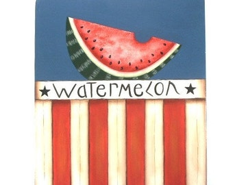 Summer Watermelon Hand Painted Patriotic Sign 626