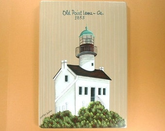 San Diego California Lighthouse Hand Painted Wood Plaque 637