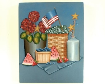 American Summer Collection Hand Painted Wood Plaque 326
