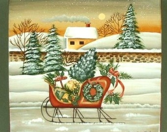 Village Christmas Sleigh Decorative Art Painting on Wood 427