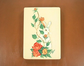 Roses and Bunny Hand Painted Wood Plaque 540