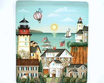 Long Island Seaport Hand Painted on Wood 456