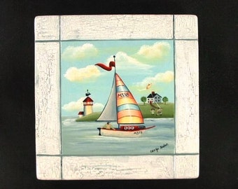 Sailboat Vacation Hand Painted on Wood 620