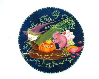 Weird Halloween Scene Handpainted Wood Plaque 702