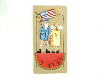 Patriotic Couple Hand Painted on Wood 700