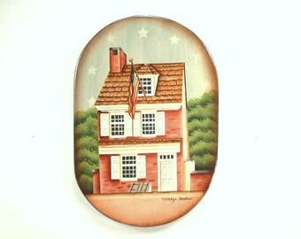 Home Colonial Era 1776 Hand Painted 0n Wood 707