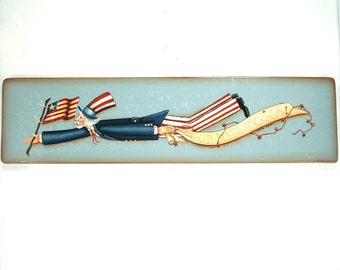 God Bless America Banner  Hand Painted Wood Plaque 280
