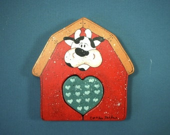 Cow & Barn Hand Painted on Wood x019
