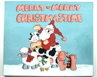 Santa and Friends Decorative Art on Canvas X155