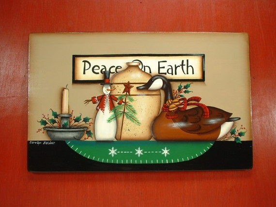 Sign Country Christmas Goose Hand Painted Wooden Plaque 144
