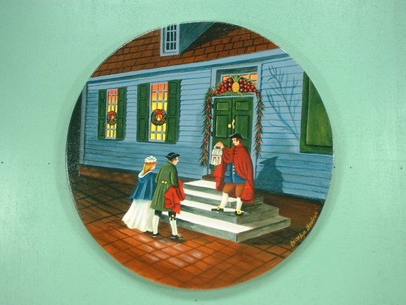 Christmas in Williamsburg Hand Painted Wood Plaque 646