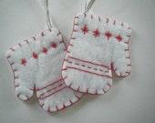 Felt Mitten ornaments - red stitching on white glitter felt - silver ribbon - one pair