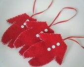 Santa's Red flannel long johns Christmas ornaments with drop seat drawers -  set of three