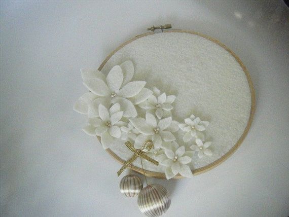 Ivory embroidery hoop felt poinsettia wall hanging