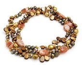 Sunset glory - necklace with semi precious stones and pearls
