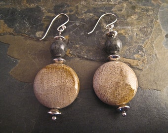 Handcrafted Fossil Coral, Jasper, and Sterling Silver Earrings (E080)