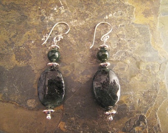 Handcrafted Emerald, Agate, and Sterling Silver Earrings (E117)