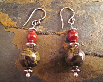 Handcrafted Jasper and Sterling Silver Earrings (E160a)