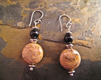 Handcrafted Petrified Wood, Onyx and Sterling Silver Earrings (E159a)