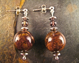 Handcrafted Bronzite, Smoky Quartz and Sterling Silver Earrings (E193)