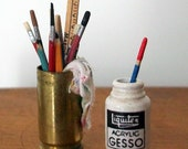 Miniature Gesso Jar and Can of Brushes (1 inch dollhouse scale)