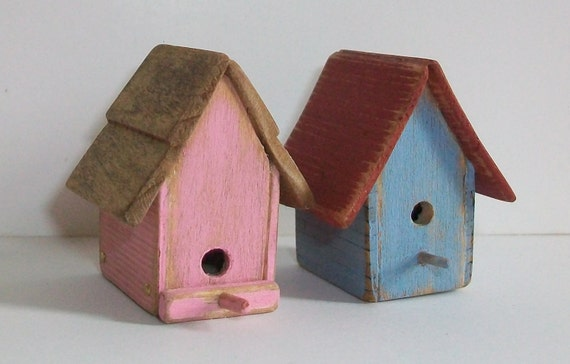 Pair of Miniature Bird Houses (1 inch dollhouse scale)