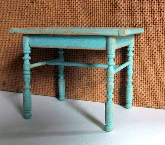 Miniature Shabby Mint Green Table (1 inch dollhouse scale)