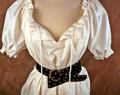 Cream off-white cotton (or ANY color) ruffle DRAWSTRING - Renaissance Medieval shirt chemise -