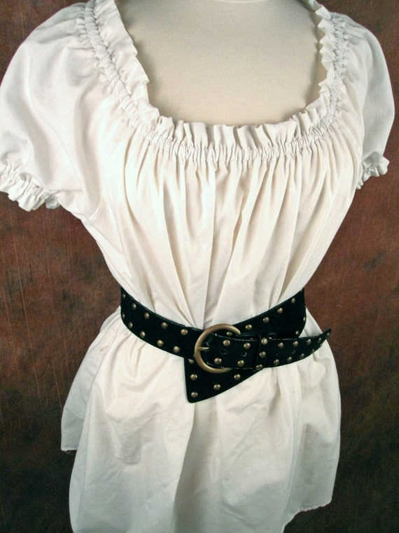 RESERVED for eirtae1 - Black SHORT sleeved  Renaissance Medieval shirt chemise w/extra length-