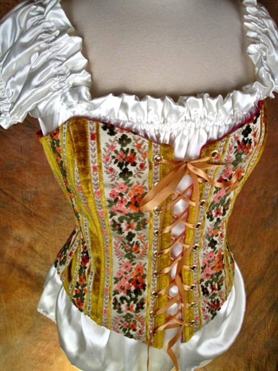 RESERVED for adonaisoul  - CUSTOM Yellow and Floral stripes with Springtime Green - Renaissance Medieval strapless bodice