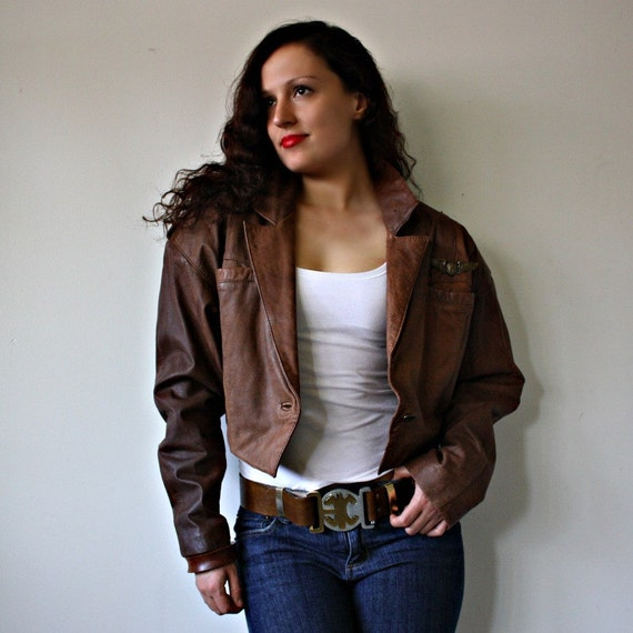 Brown Cropped Leather Jacket - Coat Nj
