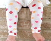 White Pink Dots Leg Warmers 6 Months Full Leg - 8 Years Knee High
