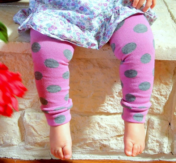Twirl - Pink with Gray Dots and Purple Leg Warmers 13 inches long 6 Months Full Leg - 8 Years Knee High