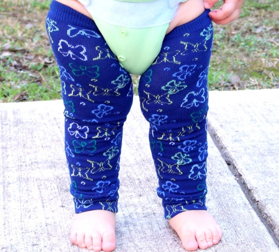RESERVED Butterfly Evening - Navy Blue with Butterflies Leg Warmers 6 Months Full Leg - 8 Years Knee High