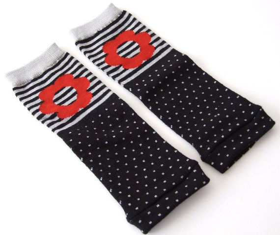 Posh Package - Black and Gray Red Flower Leg Warmers NB-6M