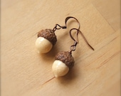Glass Acorn Earrings in Ivory by Bullseyebeads
