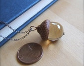 Glass Acorn Necklace in Transparent Light Brown - Bullseyebeads