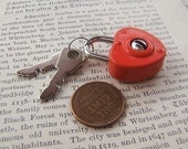 Red Metal Valentines Heart Lock with Keys  - Journal Diary by Bullseyebeads