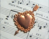 1 Vintage Metal Valentine Heart with Arrow Stamping by Bullseyebeads