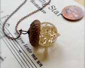 Glass Acorn Necklace in Dappled Ivory Oatmeal by Bullseyebeads