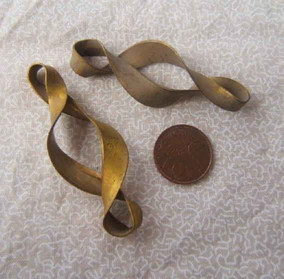 2 Vintage Brass Twisted Metal Jewelry Components by Bullseyebeads