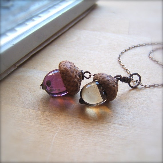 Glass Double Acorn Necklace in Amethyst and Light Brown by Bullseyebeads - 106