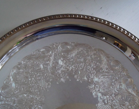 SALE Antique Wm Rogers Silver Plate Serving Tray 4571