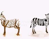 ORIGINAL Painting - Stripe Realization - African Art ACEO - Original Art NOT a print
